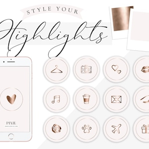 60 Set Beauty Edition Instagram Story Highlight Icon Covers Gold and Dusty Pink