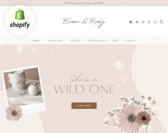 Shopify Theme - Boho Shopify Website - Shopify Store Template Banners - Shopify 2.0 Design - Ecommerce - Blush Pink Neutral - Blog Pixie