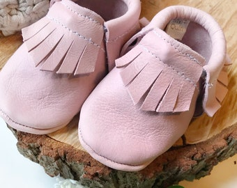 Pink Leather Baby Moccasins - Toddler Moccasins -Soft Soled Shoes- baby Shoes- pink Baby Shoes- Baby Girl Shoes- baby shower