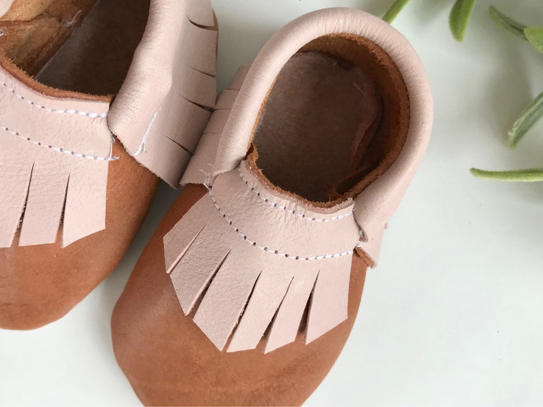 caa94bed7ca23 Brown and Pink Genuine Leather Baby Moccasins - Toddler Moccasins -Soft  Soled Shoes- Infant Shoes- Baby Shoes- Baby Girl Shoes- baby shower