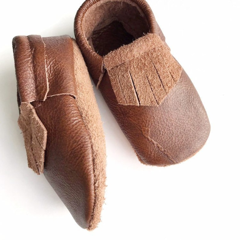 35d0e2b6efa66 Brown Leather Baby Moccasins - Toddler Moccasins -Soft Soled Shoes- Infant  Shoes- Baby Shoes- brown baby Shoes- baby shower