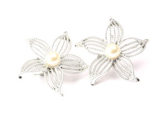 Sarah Coventry Vintage 1960s Silver Tone and Faux Pearl Earrings
