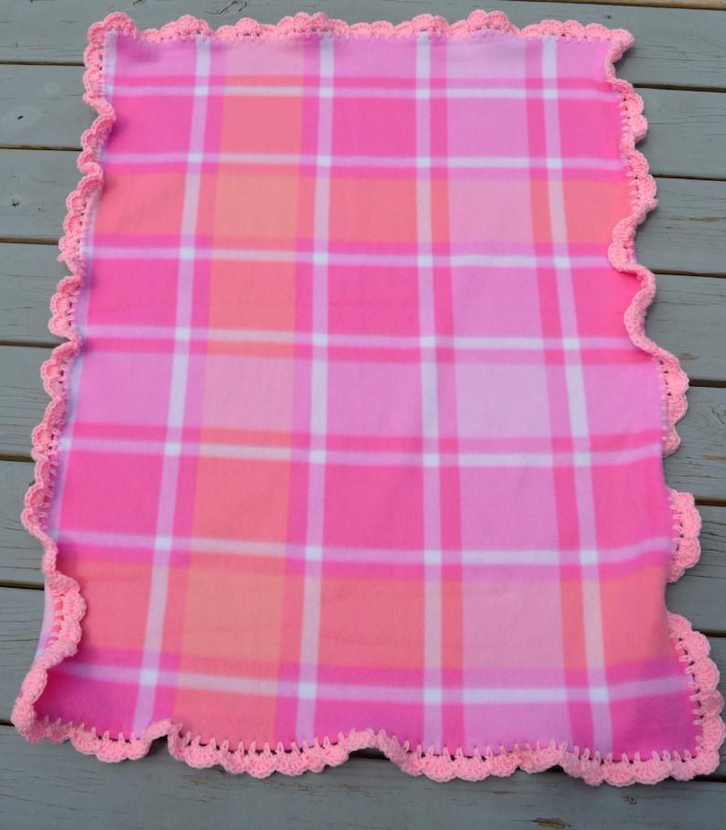 Pink Plaid Fleece Snuggle BlanketCar Seat BlanketStroller Blanket