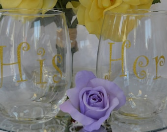 His & Hers 20 oz Stemless Wine Glasses (Set of 2)