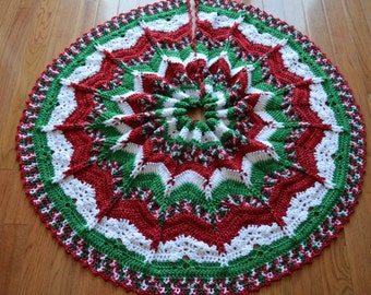 Gorgeous Crochet Christmas Tree Skirt (Sparkly) (MADE TO ORDER)