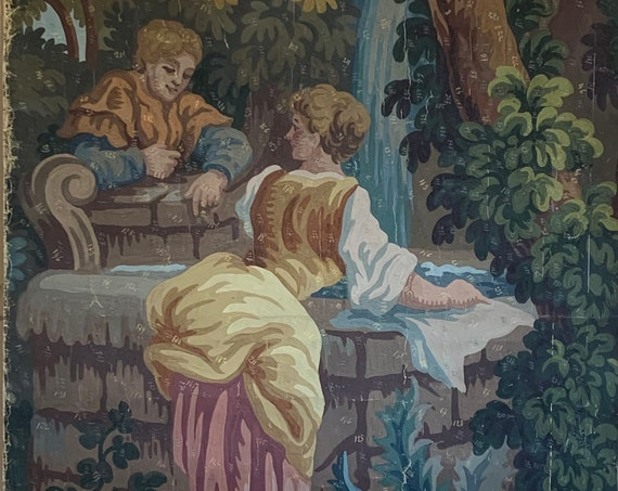 Beautiful 19th Century French Tapestry Painting (2905)