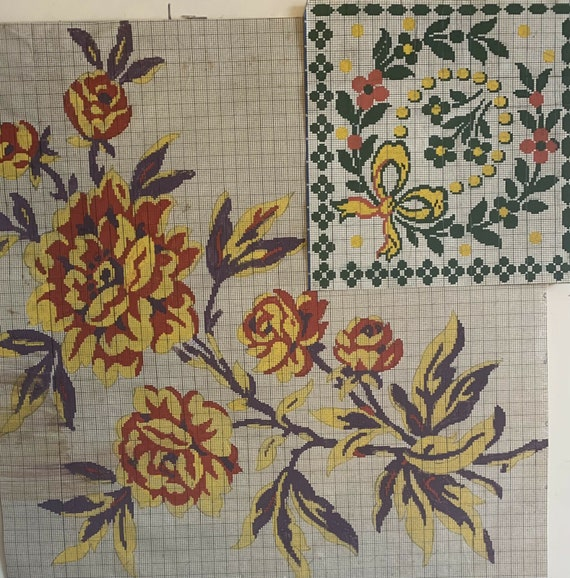 2 20th Cent French painted textile designs for carpet development 5050