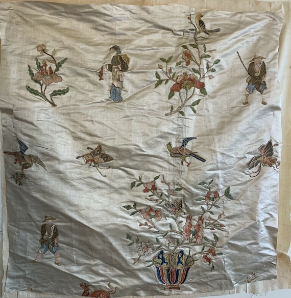 Beautiful Rare 19th Century Chinese Silk Applique Conversational Embroidery 5010