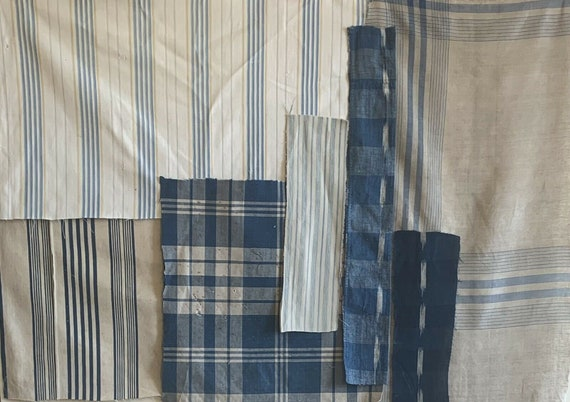 Beautiful collection of 7 19th 20th Cent. French ticking ikats plaids 5135