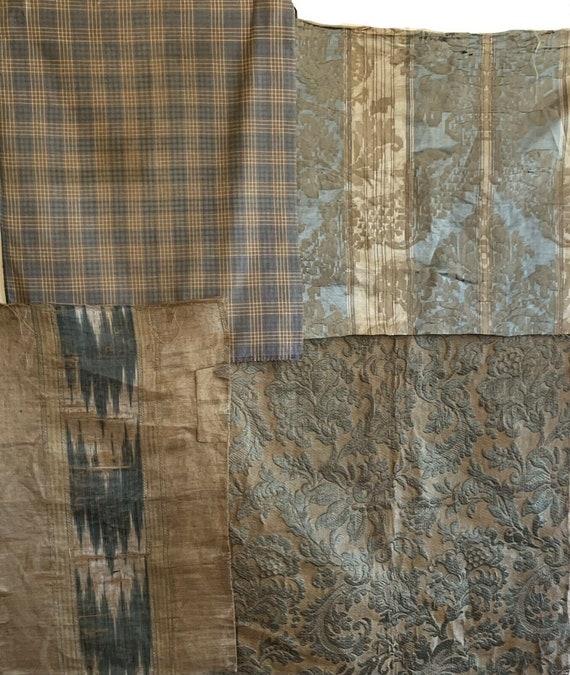 Beautiful 4 18th 19th Century French textiles silk jacquard ikat plaid 5128