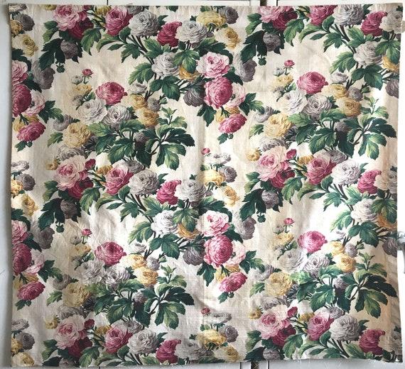 Beautiful American 1940's Bark Cloth Floral Fabric (2757)