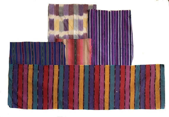 Charming group of 5 20th C. woven Guatemalan ikat stripes 5405