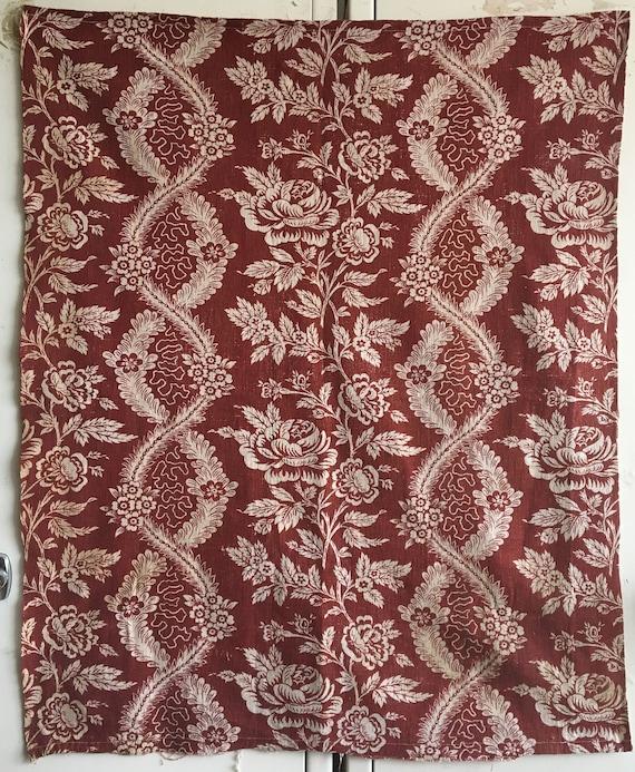 Beautiful Rare 18th C. French Printed Linen Block Print (2780)