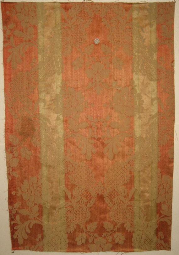 Antique 19th C. French Silk/Cotton Woven Amberline Fabric (8646)