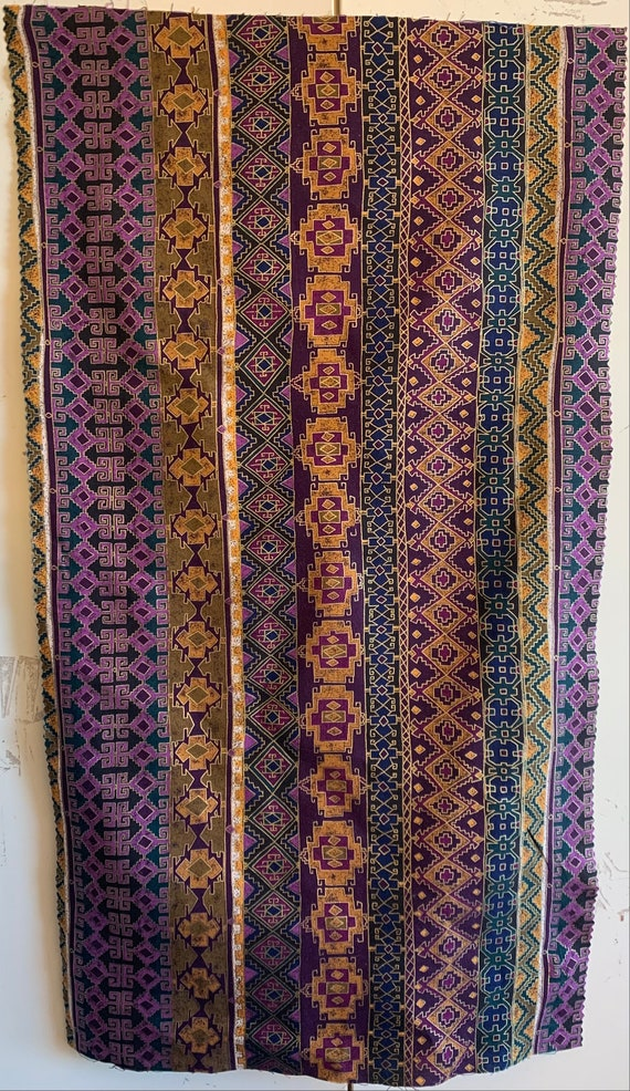 Beautiful 20th Century Printed Italian Cotton Geometric Striped Fabric (3320)