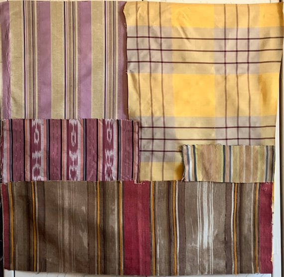 Beautiful Collection Of 5 French And Guatemalan Stripes And Plaids (3304)