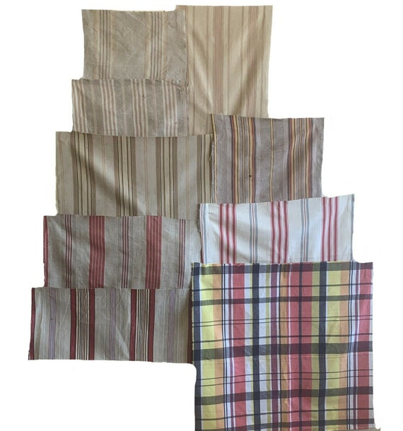 Beautiful collection of 9 19th 20th cent French ticking stripes plaids 5613