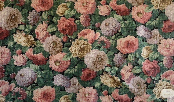 Beautiful 1930's French linen floral fabric 5152