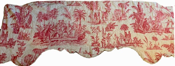 Beautiful Rare important 18th C. French linen scenic toile valance 5098