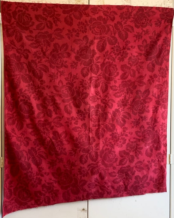 Beautiful Late 19th Century Or Early 20th Century French Printed Cotton Floral Red On Red Toile (3367)