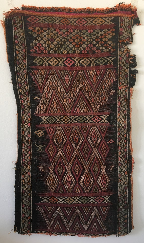 Beautiful 19th C. Woolen Moroccan Kilim Hand Woven Fabric (2486)