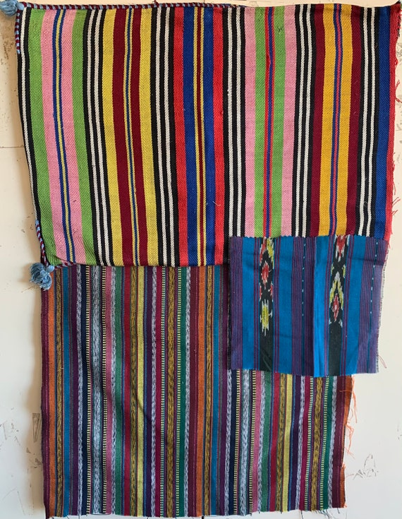 3 Beautiful Hand Woven Guatemalan Striped Fabrics (3305)