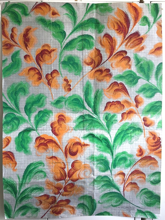 Beautiful 1930's French Painting for Carpet or Tapestry Development (W135)