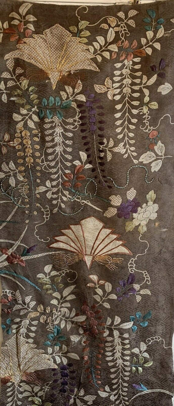 Absolutely rare 19th Century Japanese silk woven and embroidered fabric 5100