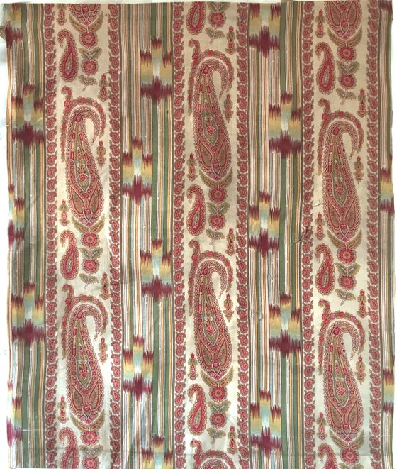 Beautiful 19th C. French Cotton Printed Paisley Fabric (2260 )