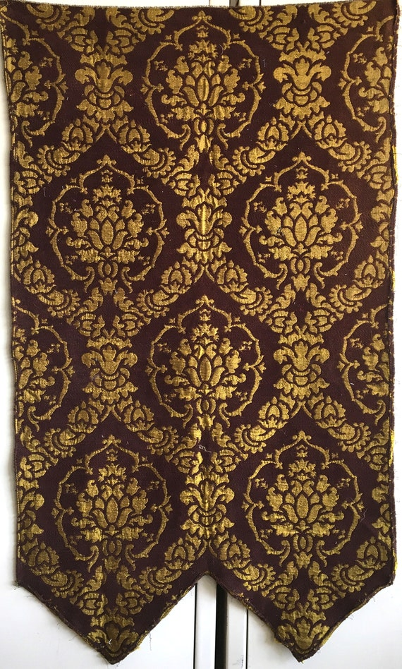 Beautiful Early 20th C. French Rayon Woven and Velvet Chenille Fabric (2798)