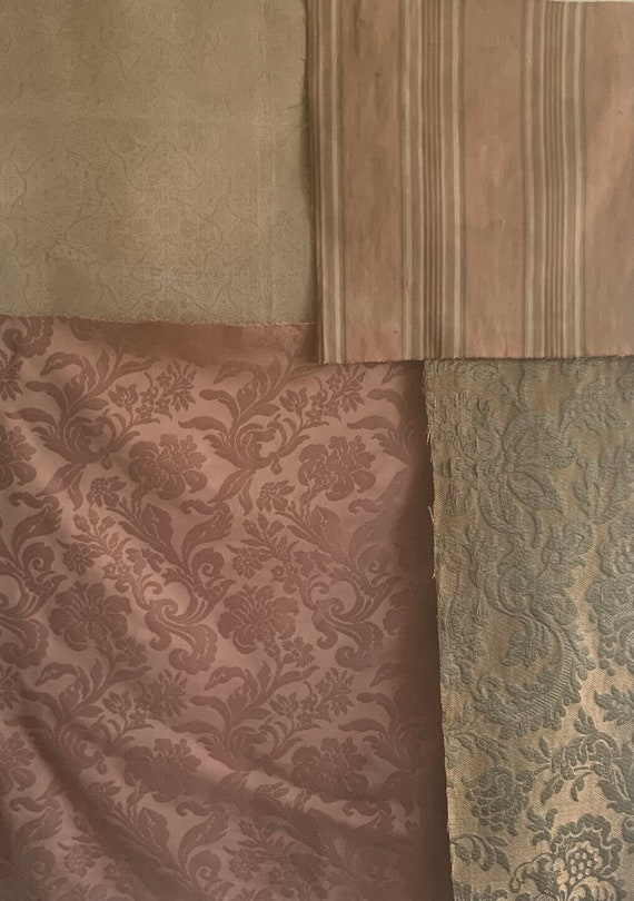 Beautiful Collection of 3 20th C. French jacquard fabrics 1 ticking stripe 5243