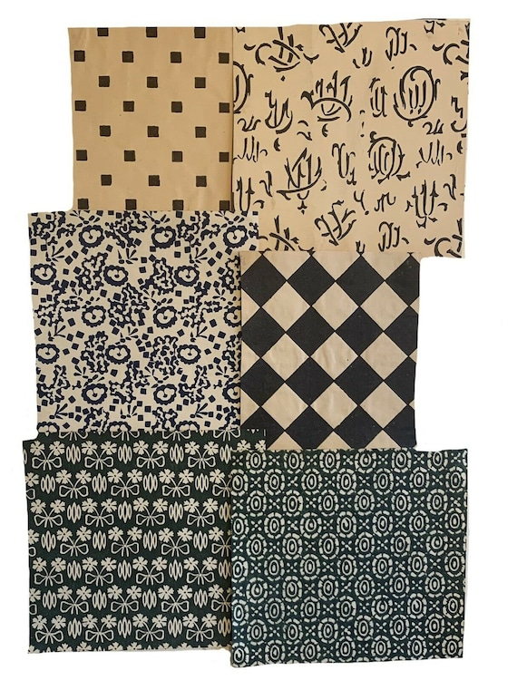 6 Charming 19th Cent and 20th cent geometric prints on paper 3229