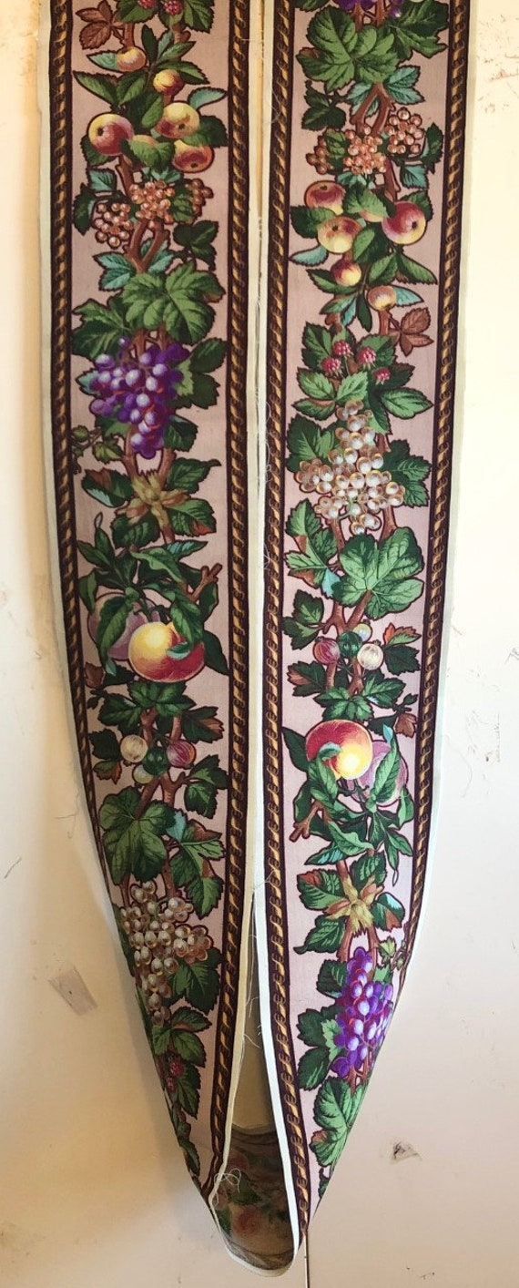 Antique Rare 19th Cent. French Wool Challis Printed Border (3026)