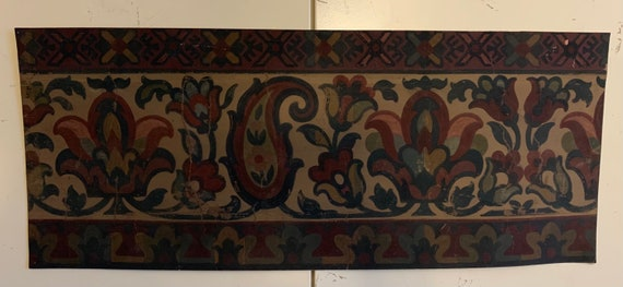 Beautiful 19th Century French Paisley Floral Hand Painted Border For Tapestry Development (3347)