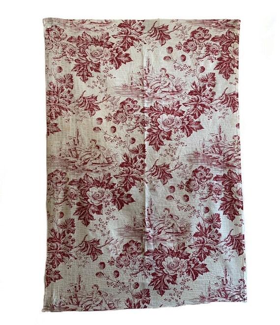 Beautiful Rare 19th Century French Cotton Scenic Floral Toile (3059)