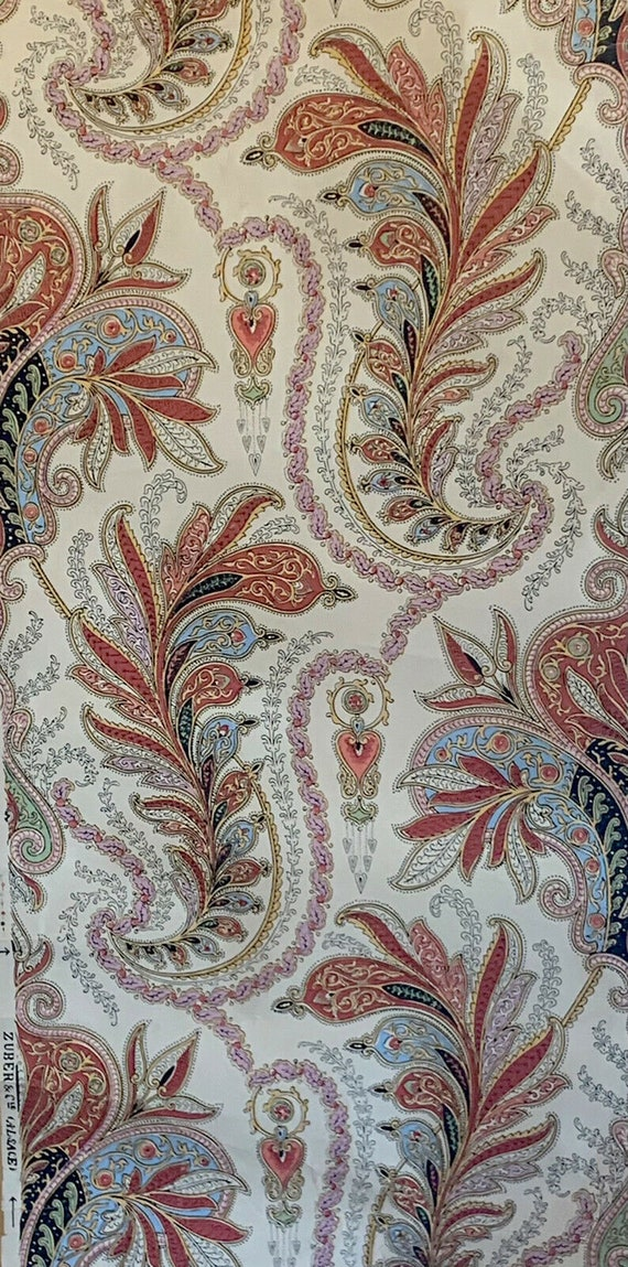 Beautiful 19th Century French Zuber paisley/exotic wallpaper 5056