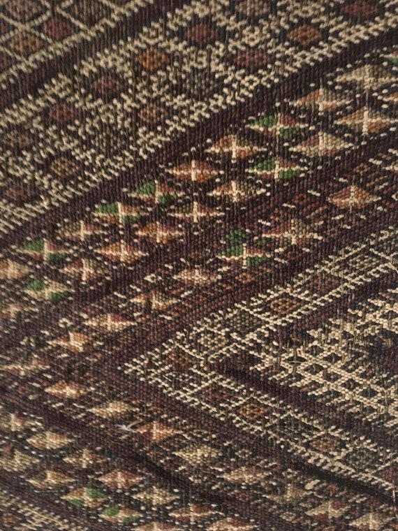 Beautiful 19th C. Woolen Moroccan Kilim Woven Fabric (2502)