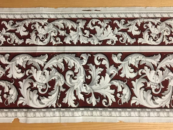 Important early 19th Century French Neoclassic Scroll Wallpaper Border (2130)