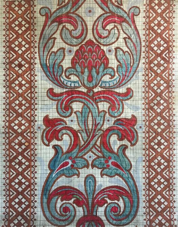 19th C. French Mis-en-Carte Gouache Painting for Woven Development (2401)