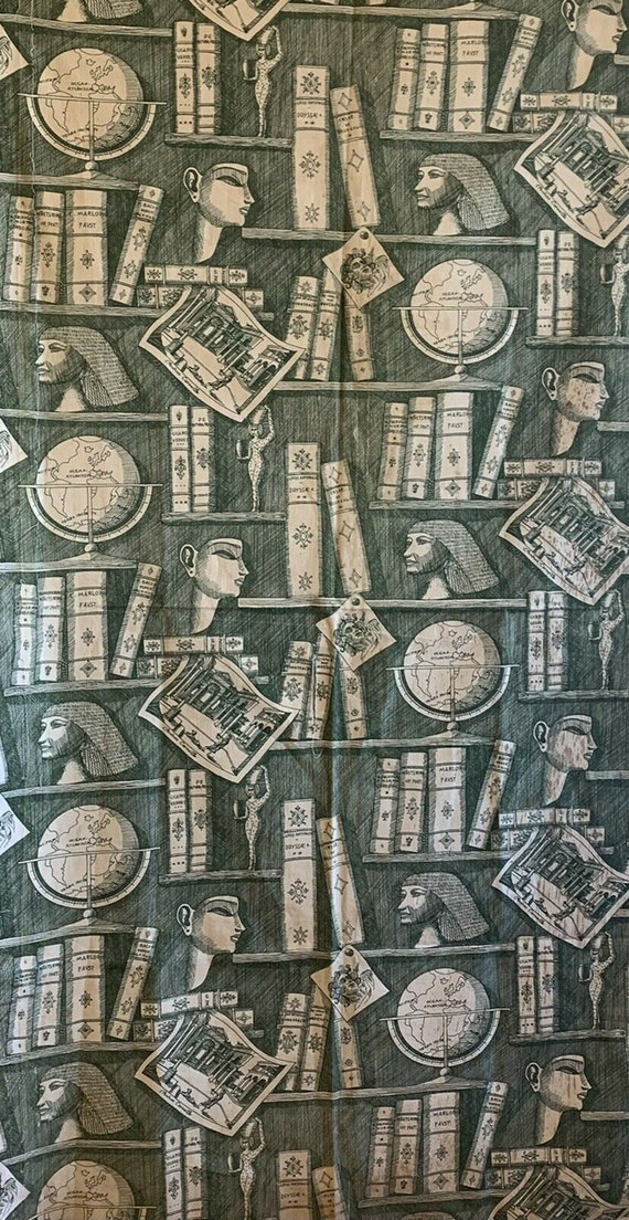 Interesting rare 20th Century conversational printed cotton fabric 5141