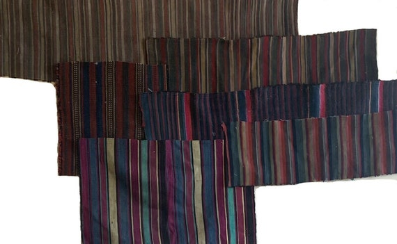 Beautiful 6 hand woven 19th Century wool stripes from Nepal and Persia 5104