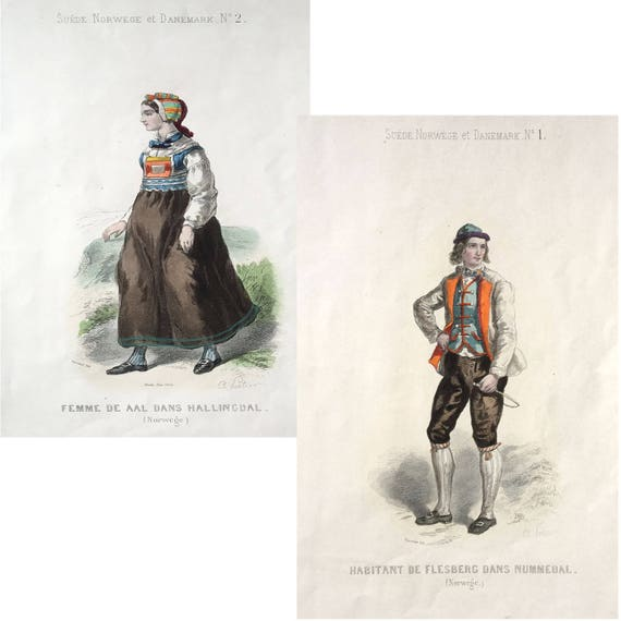 Rare Unusual 19th C. French Lithographic Printed Costume Book - 20 Plates (806)