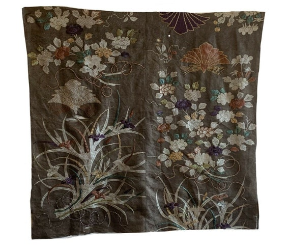 Beautiful rare Japanese silk late 19th Cent printed embroidered fabric 5626