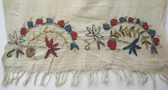 Antique Set of 3 Charming 19th & 20th C.Embroidered Linen Turkish Towels (9513)