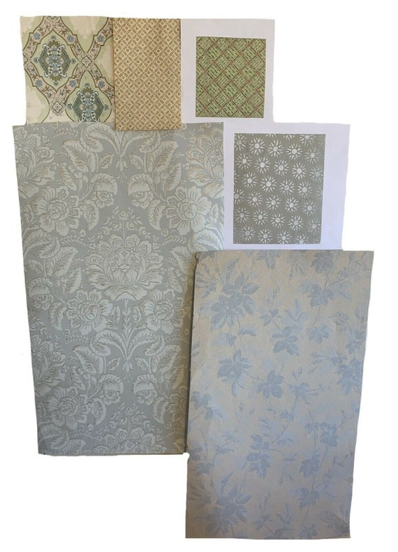 Wonderful collection of 6 French 19th 20th Cent wallpapers printed papers 3231