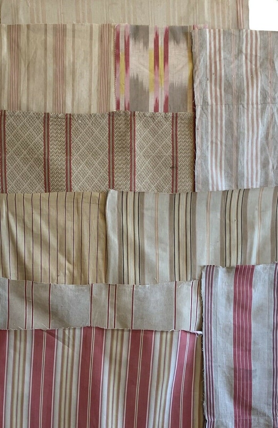 Beautiful Collection of 10 19th 20th Cent French woven stripes 5150