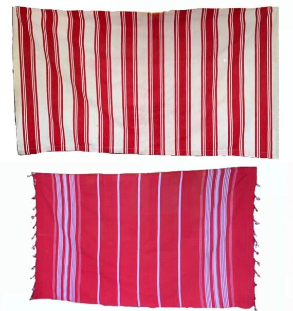 Two 20th C. Woven Cotton Stripe Fabrics (1 canvas & 1 lightweight cotton) (3120)