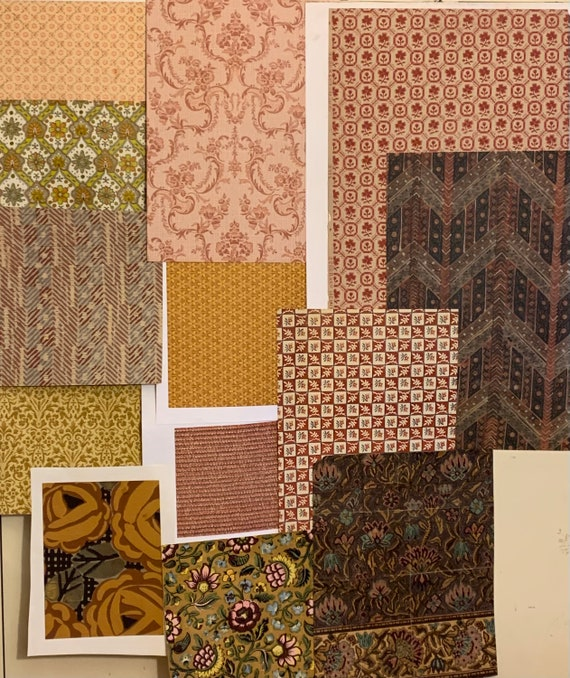 Beautiful Collection Of 12 French And American Early To Mid 20th Century Wallpapers And Paintings (2904)