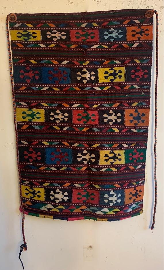 Beautiful Early 20th Century Turkish Hand Woven Wool Saddle Blanket 2207