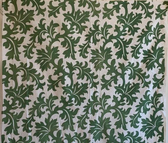 Beautiful 20th Century French cotton monotone leaf Printed fabric 5130